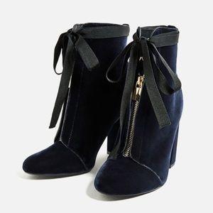 Navy Velvet Boots